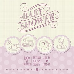 baby girl shower card with retro toys
