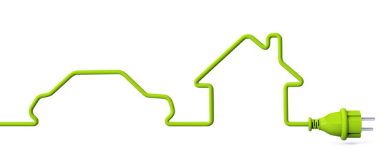 Green power plug - car - house