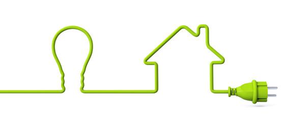 Green power plug - light bulb - house