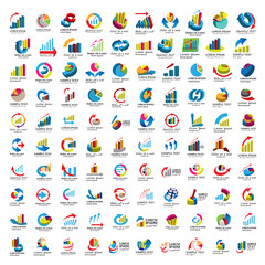 Graph Icons Set - Isolated On White Background - Vector Illustration, Graphic Design, Editable For Your Design