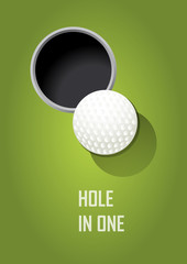 Golf poster. Postcard. Sport. Play now. Ball. Hole in one