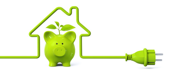 Green power plug - house with green piggy bank and plant