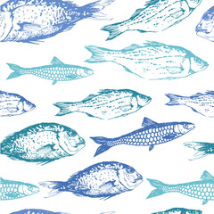 Vector background with drawing fish.