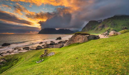 Wall Mural - Dramatic sunset over Uttakleiv beach on Lofoten islands, Norway