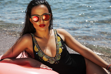 Summer beauty with red lips