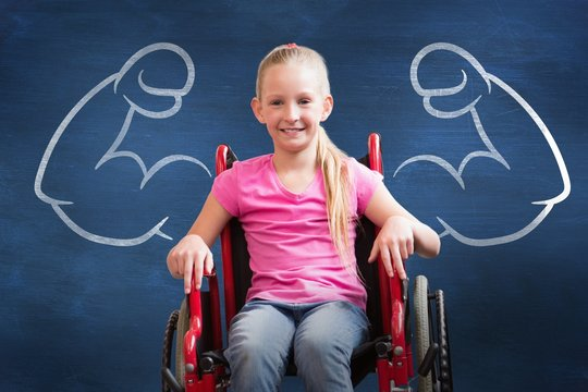 Composite image of cute disabled pupil smiling