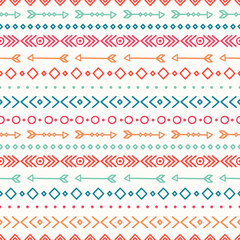 Hand drawn geometric ethnic seamless pattern. Wrapping paper