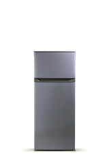 Grey refrigerator isolated on white.