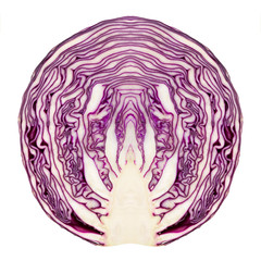 Red cabbage cut in half and made symmetric