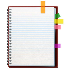 Open notebook with red cover, colorful stickers and white pages with horizontal blue lines