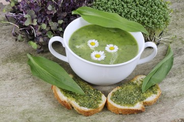 Ramsons (wild garlic) pesto on bread and herb soup with daisies
