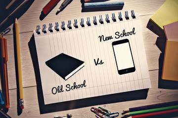 Composite image of old school vs new school