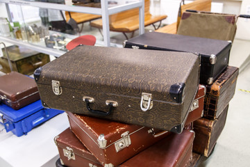 Old Suitcases on end