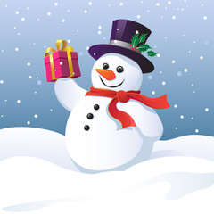 Snowman in a top hat holding a gift box
