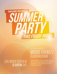 Bright orange sunset summer party flyer template design