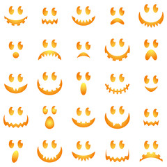 Vector Collection of Spooky Halloween Ghost and Pumpkin Faces