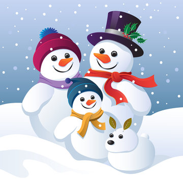 Snowman family group and snow dog