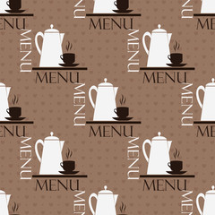 Seamless brown pattern with cups and teapots