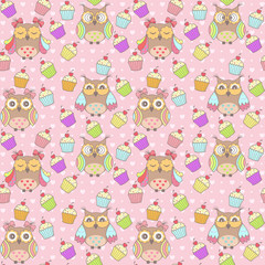 Beautiful pattern with owls and cakes on a pink background