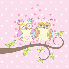 Beautiful card with owls in love on branch