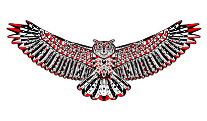 Zentangle stylized eagle owl. Sketch for tattoo or t-shirt.