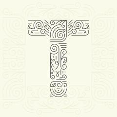 Golden Monogram Design element for Labels and Badges. Letter T
