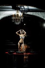 Dancing disk jockey girl