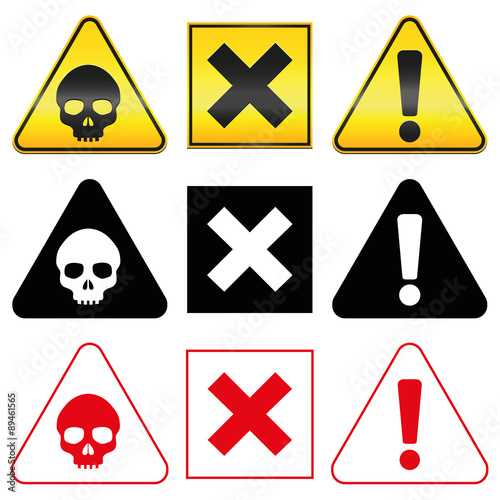 Warning Hazard Symbols Skull Cross And Exclamation Mark In Yellow