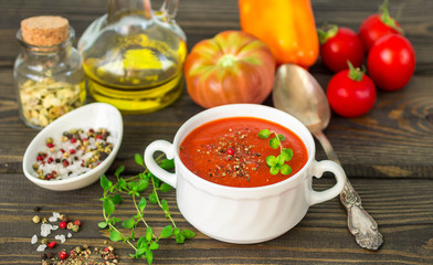 Homemade thick spicy tomato soup