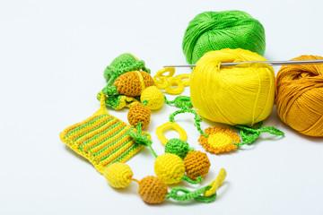 Handmade crocheted pot with wool