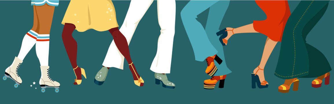 Legs of a group of people dressed in 1970s fashion dancing disco, vector illustration, no transparencies, EPS 8