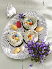 Meringue and chocolate Easter nests