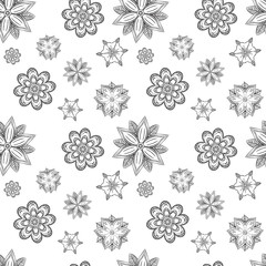 Seamless texture of abstract silhouettes symmetrical flowers