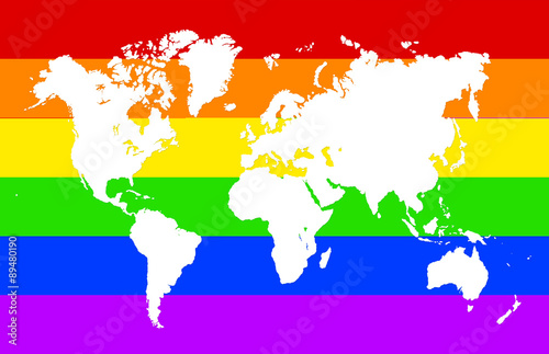Rainbow World Map Illustration Stock Photo And Royalty Free Images