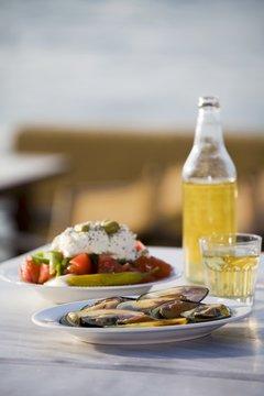 Mussels, Greek salad and white retsina