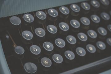 old vintage blue typewriter detail