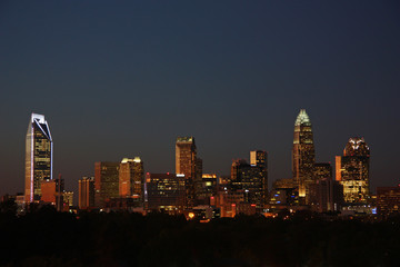 Charlotte City Skyline at Sunset