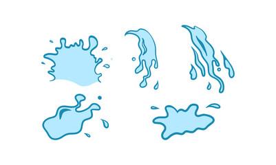 Water Spill Splash Pour Vector Set
