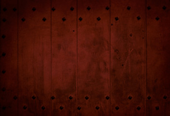 dark red old wooden plank with metallic frame background
