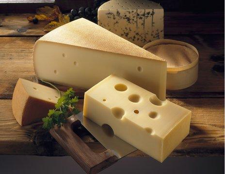 Emmental, Gruyère, Appenzeller, blue cheese and Vacherin