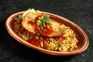 Chili Relleno on a Bed of Mexican Rice