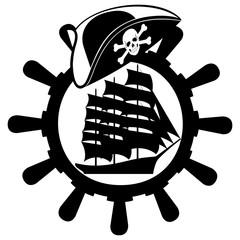 Pirate hat, ships wheel and sailing ship