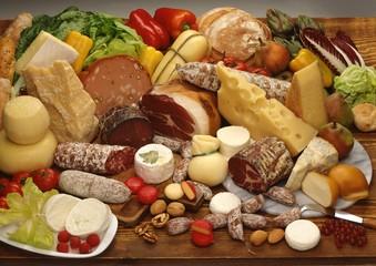 A still life of Italian foodstuffs
