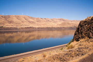 Dry Calm Clear Summer Day Columbia River Gorge Oregon Washington