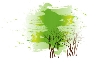 Landscapes tree watercolor painting on white background,Vector illustration