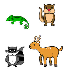 forest animal.chameleon.chipmunk.raccoon.deer
