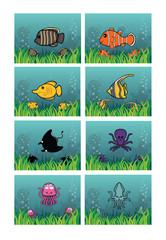 marine animal background set