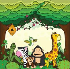 giraffe, gorilla, monkey, zebra, bee, humming bird set scenery forest background