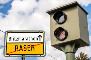 Ortstafel Blitzmarathon/Raser 02