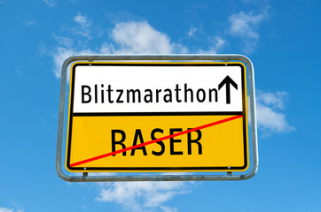 Ortstafel Blitzmarathon/Raser 01